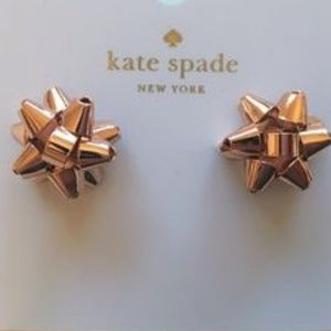 NWT KATE SPADE EARRINGS HOLIDAY BOW ROSE GOLD
